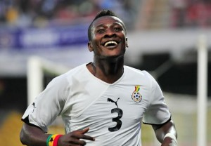 Asamoah Gyan celebrating after scoring a goal  during the ACQ  at the Accra Sports Stadium in Accra, Ghana© Christian Thompson/Backpagepix